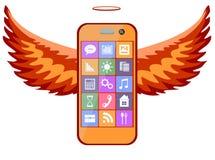 Teléfono móvil con las alas, ejemplo del vector Foto de archivo libre de regalías