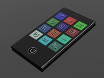 Teléfono móvil con las muestras del zodiaco Imagenes de archivo