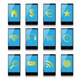 Teléfono móvil con las muestras en la pantalla Foto de archivo libre de regalías