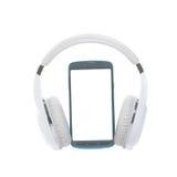 Teléfono móvil con los auriculares inalámbricos Fotografía de archivo libre de regalías