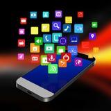 Teléfono móvil con los iconos coloridos del uso, célula p de la pantalla táctil Imagen de archivo libre de regalías