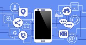 Teléfono móvil con los iconos Concepto de comunicación en la red imágenes de archivo libres de regalías