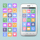 Teléfono móvil con los iconos del app Foto de archivo