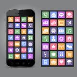 Teléfono móvil con los iconos del uso Fotografía de archivo libre de regalías