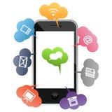 Teléfono móvil con símbolos coloreados de la comunicación Imagenes de archivo
