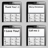 Teléfono móvil con SMS Imágenes de archivo libres de regalías