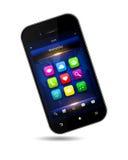 Teléfono móvil con usos sobre blanco ilustración del vector