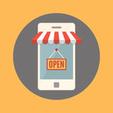Teléfono móvil Concepto de la tienda en línea Foto de archivo libre de regalías