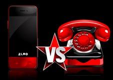Teléfono móvil contra el teléfono retro ilustración del vector