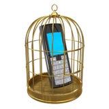 teléfono móvil 3d en jaula de pájaros Imágenes de archivo libres de regalías