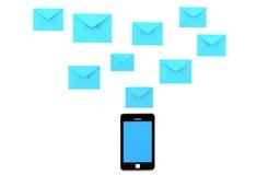 teléfono móvil 3d y sobres Fotos de archivo libres de regalías