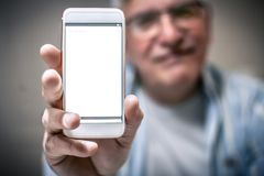 Teléfono móvil de Hodling imágenes de archivo libres de regalías