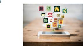 Teléfono móvil de la pantalla táctil con los iconos coloridos del uso Fotos de archivo libres de regalías