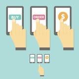 Teléfono móvil de la pantalla táctil del asimiento de la mano del asunto Foto de archivo libre de regalías