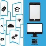Teléfono móvil de la transferencia de archivos Imágenes de archivo libres de regalías