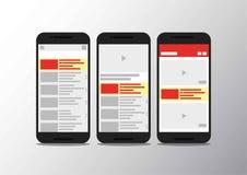 Teléfono móvil del canal del interfaz video del app fotos de archivo
