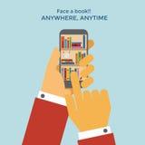 Teléfono móvil del estante de librería Imagen de archivo