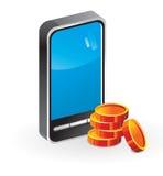 Teléfono móvil del icono (dinero) Foto de archivo libre de regalías