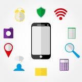 Teléfono móvil e iconos Imagen de archivo libre de regalías
