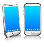 Teléfono móvil elegante 3D blanco y 2.o de la célula Fotos de archivo