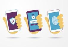 Teléfono móvil elegante del control de la mano del ejemplo del vector con datos de la información del negocio de la protección de ilustración del vector