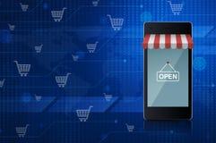 Teléfono móvil elegante moderno con en la línea gráfico de la tienda de las compras Imagen de archivo libre de regalías