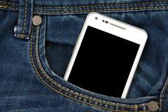 teléfono móvil en bolsillo con la pantalla negra Imagen de archivo libre de regalías
