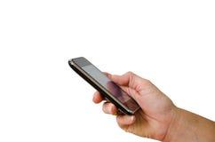 Teléfono móvil en la mano Fotos de archivo