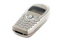 Teléfono móvil gris aislado. Fotos de archivo