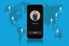 Teléfono móvil moderno de la tecnología de comunicación, ejemplo del vector Fotos de archivo libres de regalías
