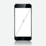 Teléfono móvil negro realista con la pantalla en blanco en el fondo blanco Foto de archivo libre de regalías