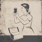 Teléfono móvil retro stock de ilustración