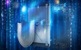 Teléfono móvil seguro del ataque del pirata informático como una caja fuerte representación 3d stock de ilustración