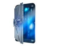 Teléfono móvil seguro del ataque del pirata informático como una caja fuerte representación 3d Foto de archivo