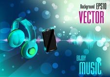 Teléfono móvil y auricular con la onda de la música Imagen de archivo
