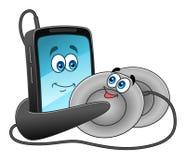 Teléfono móvil y auriculares de la historieta Fotos de archivo