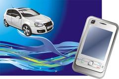 Teléfono móvil y coche. Composición abstracta Imágenes de archivo libres de regalías