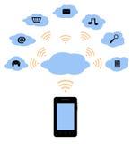 Teléfono móvil y la nube Fotografía de archivo