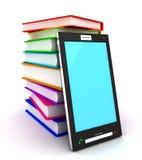 Teléfono móvil y libros Imagen de archivo libre de regalías