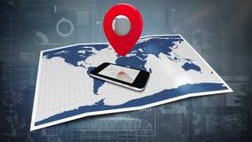 Teléfono móvil y mapa