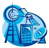 Teléfono móvil y satélite Foto de archivo libre de regalías