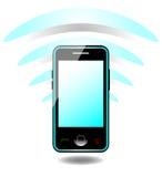 Teléfono móvil y señal Imágenes de archivo libres de regalías