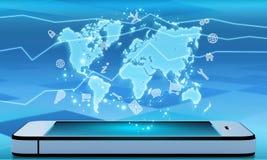 Teléfono móvil y un mapa del mundo con los iconos Imágenes de archivo libres de regalías