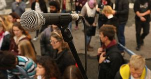 Teléfono micro en la etapa metrajes