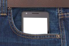 Teléfono moderno en pantalla de visualización del bolsillo de los vaqueros Imagen de archivo libre de regalías