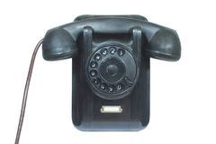 Teléfono negro aislado en blanco Imagen de archivo