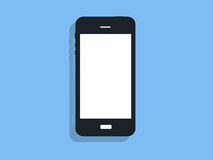 Teléfono negro en fondo azul Foto de archivo