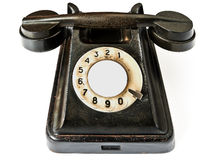 Teléfono negro en un fondo blanco Foto de archivo