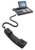 Teléfono negro moderno de la oficina de asunto foto de archivo libre de regalías
