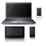 Teléfono, ordenador portátil, tableta con la reflexión Foto de archivo libre de regalías